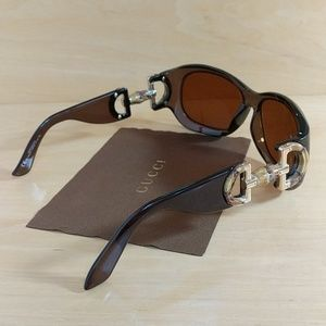 GUCCI Brown Bamboo Amber Lens Sunglasses With Case
